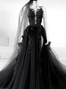 Gorgeous Ball Gown Deep V Neck Black Lace Wedding Dresses with Appliques
