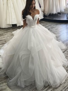 Gorgeous Ball Gown Off the Shoulder White Tulle Cascading Ruffled Wedding Dresses