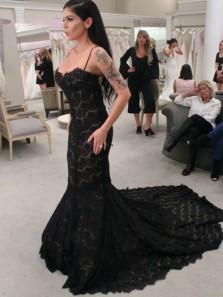 Charming Mermaid Sweetheart Spaghetti Straps Lace Black Wedding Dresses