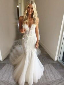 Luxurious Mermaid Sweetheart Tulle Lace Wedding Dresses, Gorgeous Bride Dress