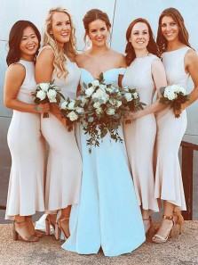 Elegant Sheath Round Neck Elastic Satin Light Champagne Tea Length Bridesmaid Dresses