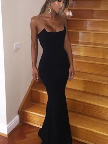 Sexy Mermaid Scoop Neck Strapless Black Satin Evening Party Dresses, Cocktail Dresses, Prom Dresses