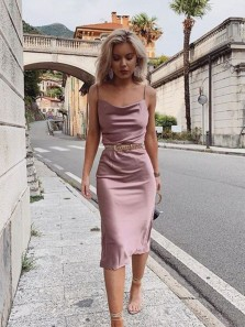 Chic Sheath Cowl Neck Spaghetti Straps Blush Satin Tea Length Evening Party Dresses, Cocktail Dresses