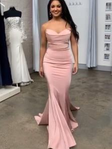 Chic Mermaid Sweetheart Cowl Neck Blush Pink Satin Long Party Dresses, Blush Formal Evening Dresses