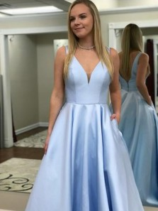 Vintage Ball Gown V Neck Open Back Prom Dresses with Train, Formal Elegant Evening Dresses with Pockets PM004