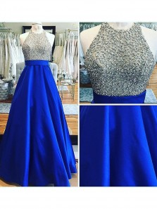 Elegant Ball Gown Round Neck Open Back Royal Blue Long Prom Dress Evening Dress With Beading, Gorgeous Evening Party Dresses PM0015