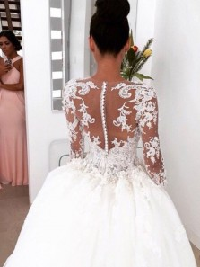 Elegant Ball Gown Lace Long Wedding Dress with Long Illusion Sleeves