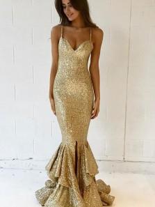 Golden Sequins Mermaid Prom Dresses,Strap Spaghetti Prom Dresses, Red Carpet Fashion Evening Dresses PM0021