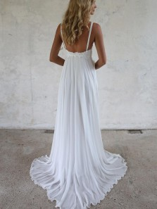Fairy A Line V Neck Straps White Chiffon Wedding Dresses with Lace, Beach Wedding Dresses