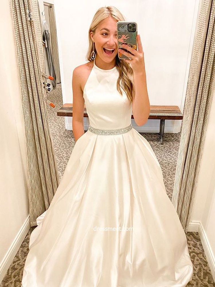 Cute Ball Gown Halter White Satin Beading Long Prom Dresses with Pockets