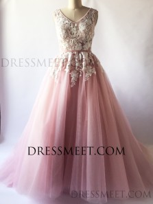 Sweet Ball Gown V Neck Blush Pink Tulle Prom Dresses with Lace Appliques, Sweet 16 Dresses