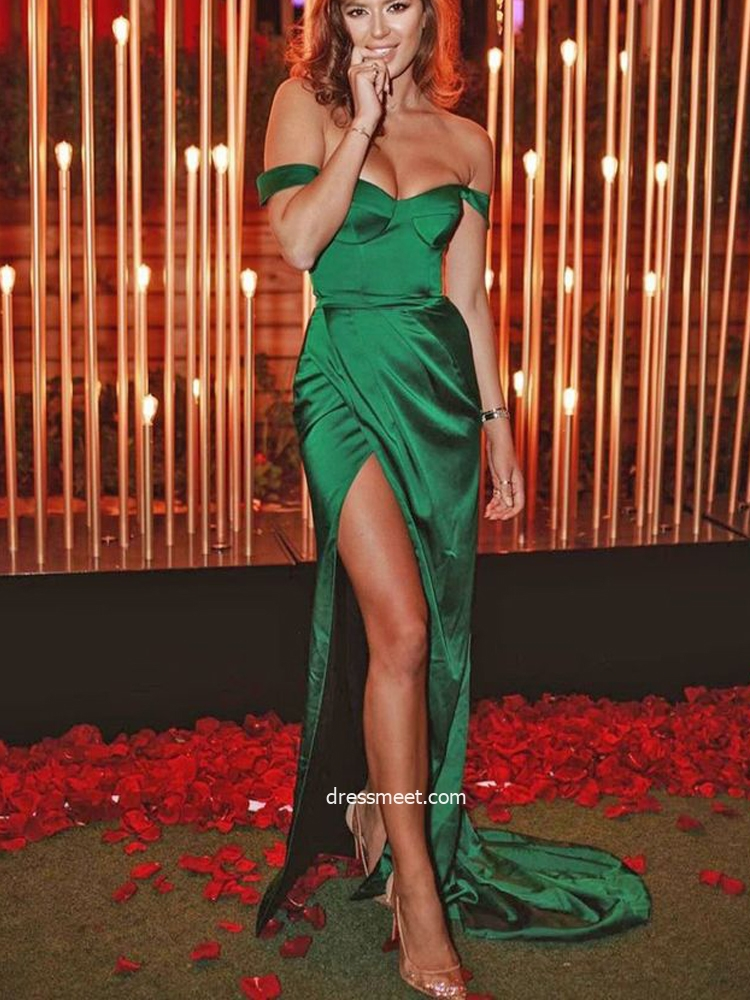 Charming Mermaid Off the Shoulder Green Satin Slit Prom Dress, Elegant Evening Party Dresses