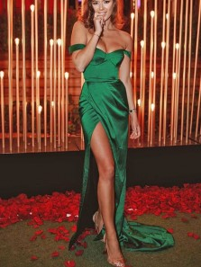 Charming Mermaid Off the Shoulder Green Satin Slit Prom Dress, Elegant Evening Party Dresses