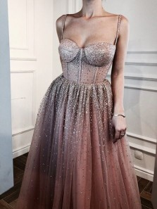 Sparkly Ball Gown Sweetheart Straps Blush Gold Prom Dresses, Luxury Prom Gowns