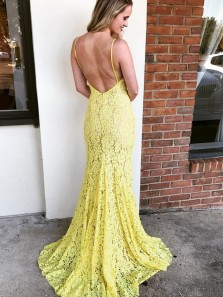 Classy Mermaid V Neck Spaghetti Straps Yellow Evening Dresses, Slit Daffodil Lace Prom Dresses