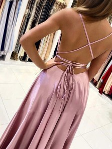 Cute A Line Scoop Neck Spaghetti Straps Blush Silk Satin Long Prom Dresses Under 100, Cross Back Evening Party Dress