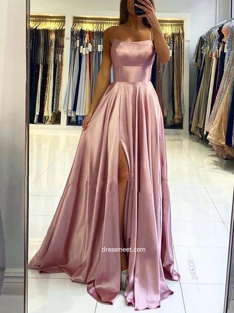 Cute A Line Scoop Neck Spaghetti Straps Blush Silk Satin Long Prom Dresses, Cross Back Evening Party Dress