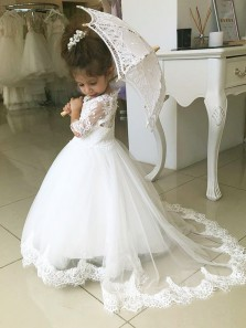 Cute A Line Round Neck Half Sleeves White Flower Girl Dresses with Appliques