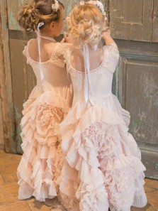 Cute A Line Round Neck Cap Sleeves Ruffled Tulle Flower Girl Dresses