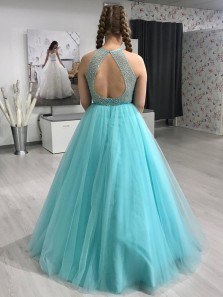 Ball Gown Round Neck Light Pool Tulle Prom Dresses with Beading, Junior Prom Gowns