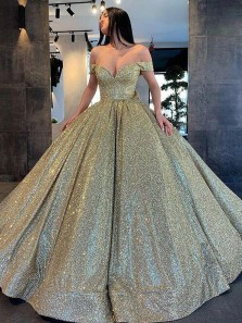 Holographic-Glitter Ball Gown Off the Shoulder Sparkly Satin Prom Dresses with Pockets