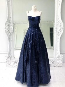 Cute A Line Scoop Neck Spaghetti Straps Cross Back Navy Sequins Junior Prom Dresses
