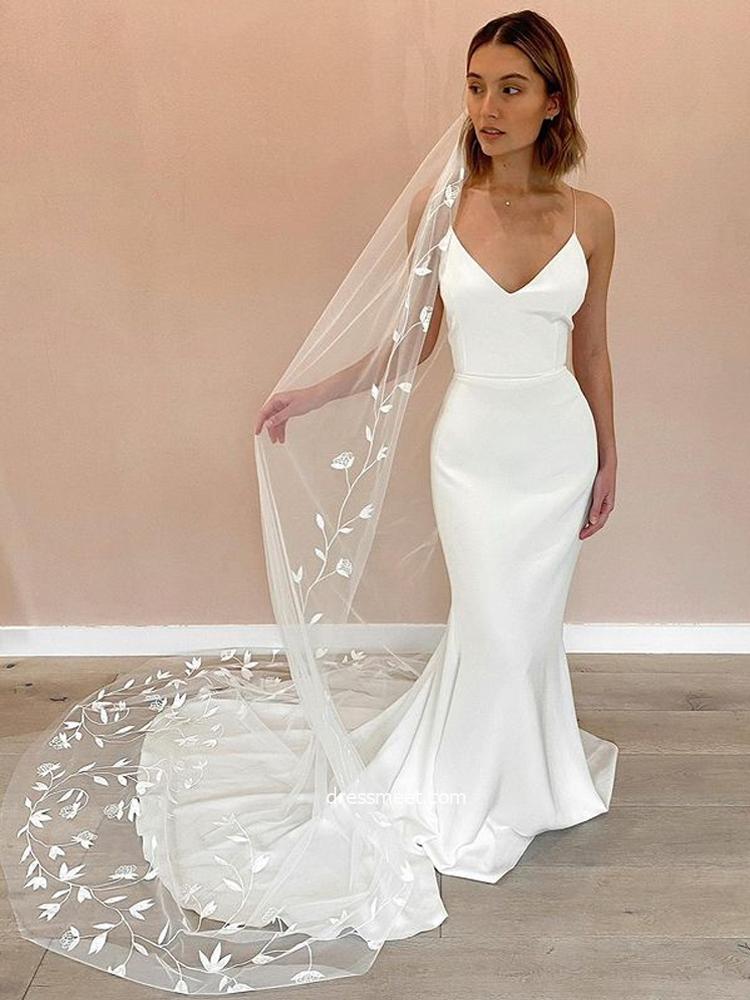 Elegant & Fashion Mermaid V Neck Spaghetti Straps Soft Satin Wedding Dresses with Train