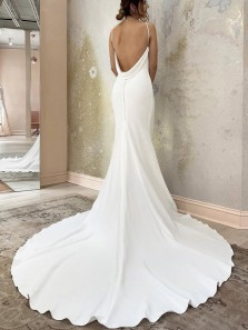 Elegant & Fashion Mermaid V Neck Spaghetti Straps Soft Satin Wedding Dresses with Train
