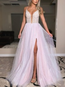 Cute A Line V Neck Straps Cross Back Sparkly Tulle Slit Prom Dresses with Pearl