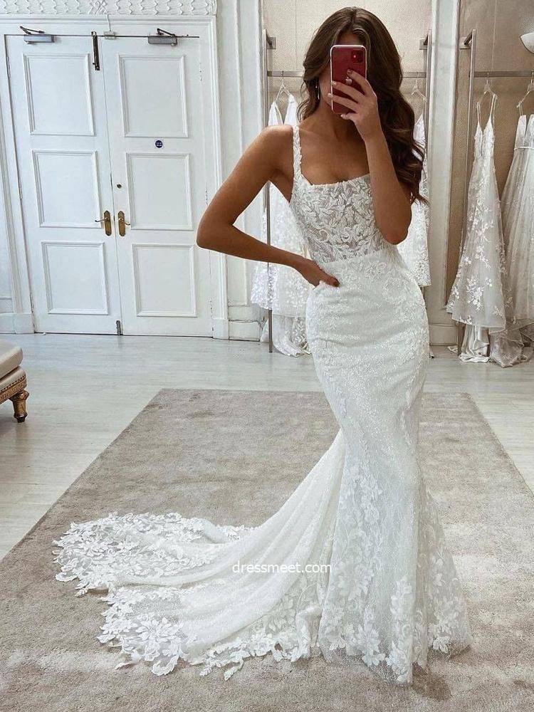 Elegant Mermaid Scoop Neck Straps Lace Wedding Dresses