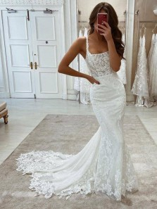 Elegant Mermaid Scoop Neck Straps Lace Wedding Dresses, Lace Bridal Dresses