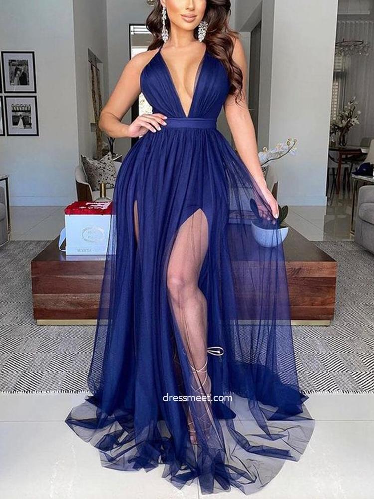 Discount A Line Deep V Neck Split Party Dresses, Navy Blue Evening Dresses