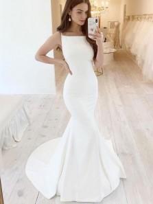 Elegant Mermaid Square Neck Heavy Elastic Satin Wedding Dresses