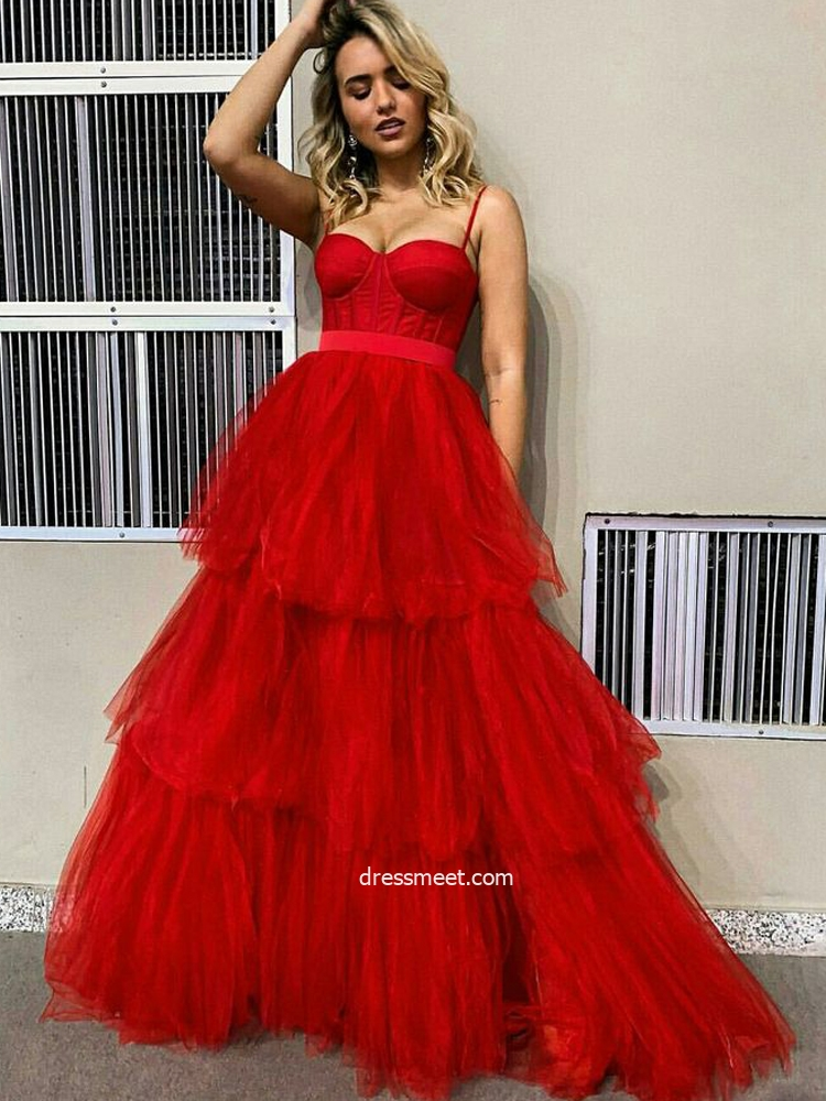 Cute Ball Gown Sweetheart Spaghetti Straps Red Tulle Tiered Prom Dresses