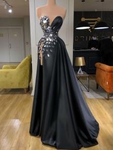 Sexy Deep V Neck Black Satin Side Split Party Dresses with Beading
