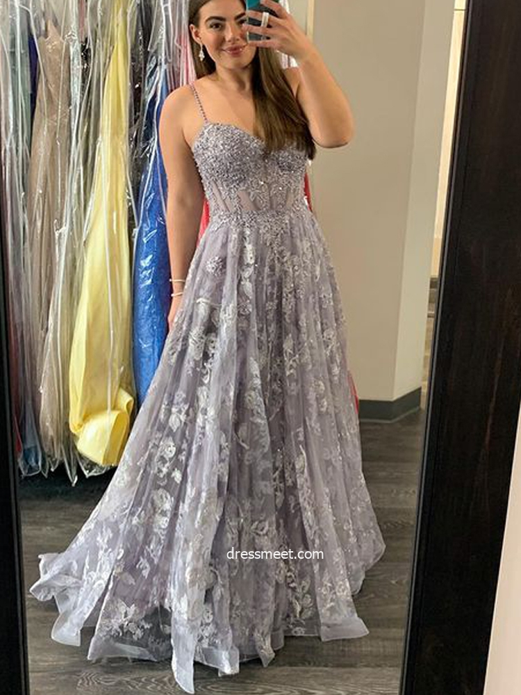 Gorgeous A Line V Neck Spaghetti Straps Grey Lace Prom Dresses with Beading
