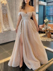 Glitter Off the Shoulder Champagne Sparkly Tulle Prom Dresses with Slit