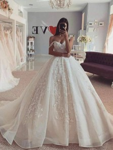 Luxury Ball Gown Off the Shoulder White Organza Tulle Wedding Gown with Appliques