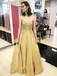 Cute Ball Gown V Neck Gold Holographic Glitter Satin Long Prom Dresses with Appliques