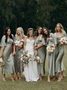Elegant Sheath V Neck Ruffle Sleeves Olive Green Silk Satin Tea Length Bridesmaid Dresses