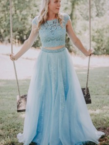 Cute A Line Two Piece Round Neck Open Back Light Blue Prom Dresses, Plus Size Custom Dresses