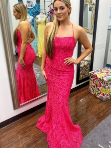 Charming Mermaid Scoop Neck Spaghetti Straps Fuchsia Lace Prom Dresses, Formal Evening Party Dresses