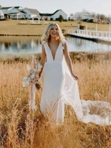 Romatic Sheath Deep V Neck Soft Satin Wedding Dresses with Button