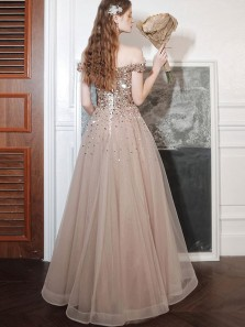 Cute A Line Off the Shoulder Champagne Beading Prom Dresses, Princess Dresses