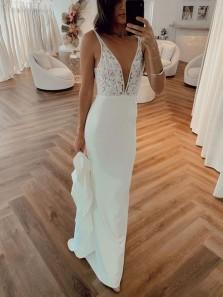 Chic Mermaid V Neck Straps Lace White Soft Satin Wedding Dresses