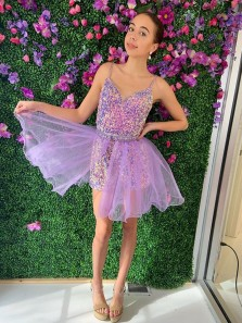 Cute Sparkly V Neck Spaghetti Straps Velvet Sequins Homecoming Dresses Two Piece Set