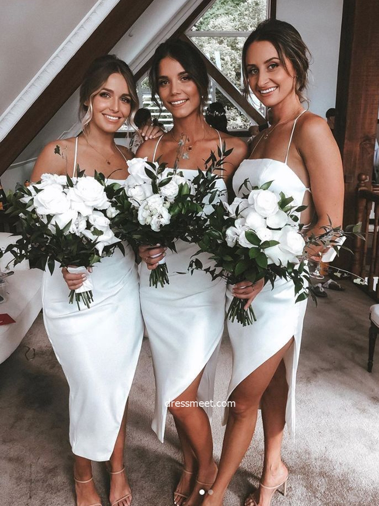 Chic Sheath Strapless White Silk Satin Bridesmaid Dresses with Slit Under 100