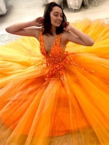 Cute Ball Gown V Neck Orange Tulle Long Prom Dresses with Appliques, Birthday Dresses