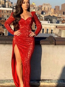 Sparkly Sheath V Neck Long Sleeves Red Sequins Long Prom Dresses, Formal Evening Dresses