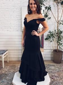 Elegant Sheath Off the Shoulder Black Soft Satin Long Formal Evening Dresses